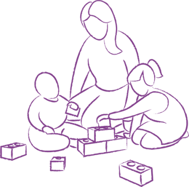 parent and children playing with blocks